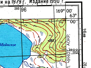 Reduced fragment of topographic map ru--gs--100k--p59-037_038--(1979)--N063-00_E168-00--N062-40_E169-00