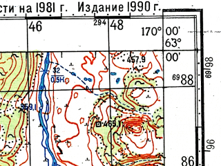 Reduced fragment of topographic map ru--gs--100k--p59-039_040--(1981)--N063-00_E169-00--N062-40_E170-00