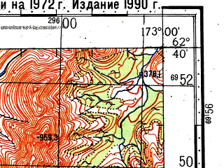 Reduced fragment of topographic map ru--gs--100k--p59-057_058--(1972)--N062-40_E172-00--N062-20_E173-00