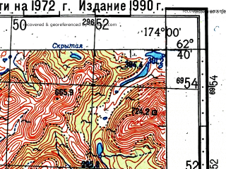Reduced fragment of topographic map ru--gs--100k--p59-059_060--(1972)--N062-40_E173-00--N062-20_E174-00