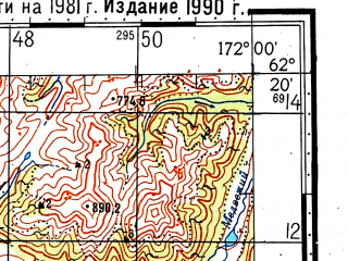 Reduced fragment of topographic map ru--gs--100k--p59-067_068--(1981)--N062-20_E171-00--N062-00_E172-00
