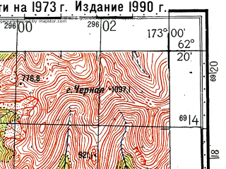 Reduced fragment of topographic map ru--gs--100k--p59-069_070--(1973)--N062-20_E172-00--N062-00_E173-00