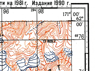 Reduced fragment of topographic map ru--gs--100k--p59-077_078--(1981)--N062-00_E170-00--N061-40_E171-00