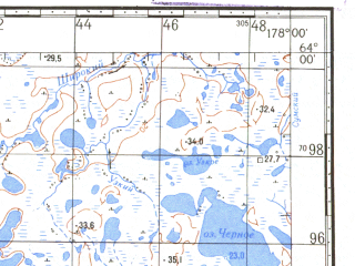 Reduced fragment of topographic map ru--gs--100k--p60-007_008--N064-00_E177-00--N063-40_E178-00
