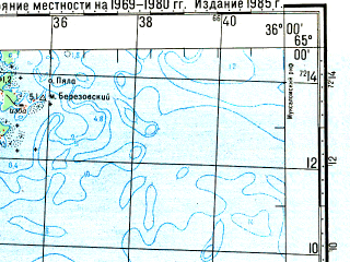 Reduced fragment of topographic map ru--gs--100k--q36-119_120--N065-00_E035-00--N064-40_E036-00