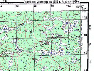 Reduced fragment of topographic map ru--gs--100k--q39-099_100--N065-20_E049-00--N065-00_E050-00; towns and cities Borkovskaya