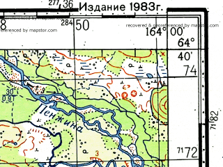 Reduced fragment of topographic map ru--gs--100k--q58-123_124--(1972)--N064-40_E163-00--N064-20_E164-00