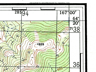 Reduced fragment of topographic map ru--gs--100k--q58-141_142--(1953)--N064-20_E166-00--N064-00_E167-00