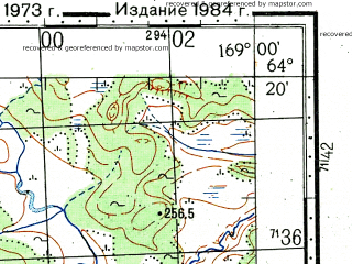 Reduced fragment of topographic map ru--gs--100k--q59-133_134--(1973)--N064-20_E168-00--N064-00_E169-00