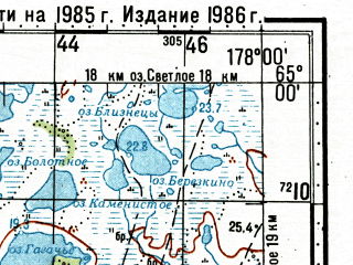Reduced fragment of topographic map ru--gs--100k--q60-115_116--N065-00_E177-00--N064-40_E178-00; towns and cities Anadyr', Shakhterskiy, Tavayvaam, Leninka