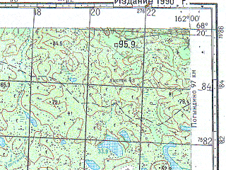 Reduced fragment of topographic map ru--gs--100k--r57-143_144--N068-20_E161-00--N068-00_E162-00; towns and cities Pervomaysk