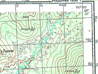 Reduced fragment of topographic map ru--gs--100k--r58-133_134--N068-20_E162-00--N068-00_E163-00