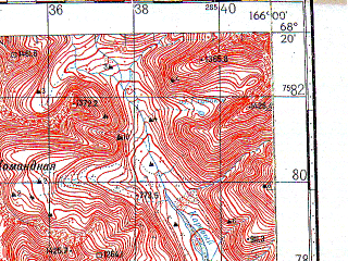 Reduced fragment of topographic map ru--gs--100k--r58-139_140--N068-20_E165-00--N068-00_E166-00