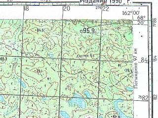 Reduced fragment of topographic map ru--gs--100k--r58-143_144--N068-20_E167-00--N068-00_E168-00
