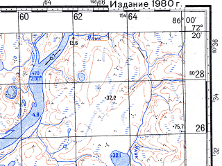 Reduced fragment of topographic map ru--gs--100k--s45-135_136--N072-20_E085-00--N072-00_E086-00