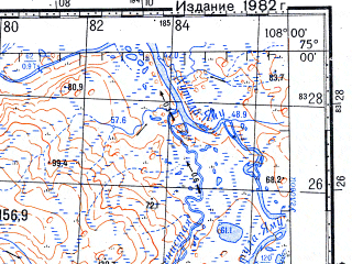 Reduced fragment of topographic map ru--gs--100k--s48-047_048--N075-00_E107-00--N074-40_E108-00