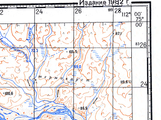 Reduced fragment of topographic map ru--gs--100k--s49-043_044--N075-00_E111-00--N074-40_E112-00
