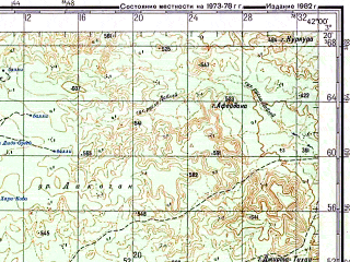 Reduced fragment of topographic map ru--gs--200k--a37-12--N003-20_E041-00--N002-40_E042-00; towns and cities El Godgod