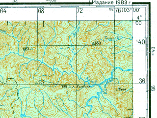 Reduced fragment of topographic map ru--gs--200k--a48-01--N004-00_E102-00--N003-20_E103-00; towns and cities Mentekab, Temerluh, Karak, Maran, Jerantut