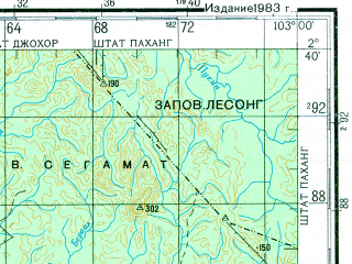 Reduced fragment of topographic map ru--gs--200k--a48-13--N002-40_E102-00--N002-00_E103-00; towns and cities Segamat, Melaka, Muar, Bukit Baharu, Tangkak