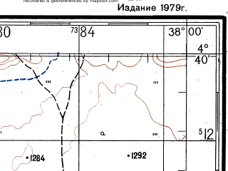 Reduced fragment of topographic map ru--gs--200k--b37-32--N004-40_E037-00--N004-00_E038-00; towns and cities Dilo