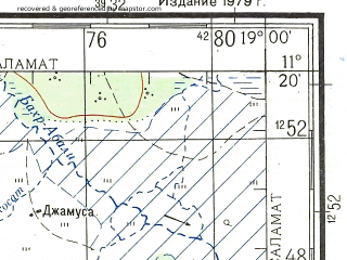 Reduced fragment of topographic map ru--gs--200k--c34-07--N011-20_E018-00--N010-40_E019-00; towns and cities Gagne, Kourboutou