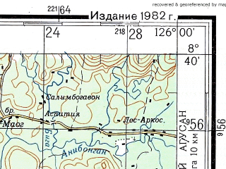 Reduced fragment of topographic map ru--gs--200k--c51-36--N008-40_E125-00--N008-00_E126-00; towns and cities Langasian, Limot, Santa Rosa