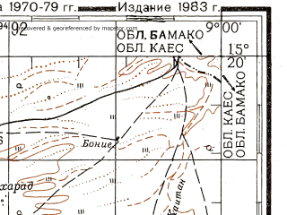 Reduced fragment of topographic map ru--gs--200k--d29-09--N015-20_W010-00--N014-40_W009-00; towns and cities Nioro Du Sahel, Birou, Diongo Mani, Diongoi