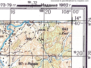 Reduced fragment of topographic map ru--gs--200k--d48-18--N014-40_E107-00--N014-00_E108-00; towns and cities Ban Pakha, Plei-ken Ngo, Polei Bar Gok