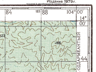 Reduced fragment of topographic map ru--gs--200k--d48-20--N014-00_E103-00--N013-20_E104-00; towns and cities Phumi Pheas Tbong, Phumi Phnum Lieb, Phumi Prey Chruk
