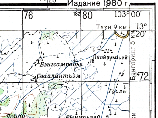 Reduced fragment of topographic map ru--gs--200k--d48-25--N013-20_E102-00--N012-40_E103-00; towns and cities Phumi Kdol, Phumi Kien Kes, Phumi Ta Krei