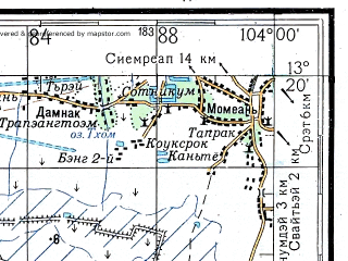 Reduced fragment of topographic map ru--gs--200k--d48-26--N013-20_E103-00--N012-40_E104-00; towns and cities Phumi Kouk Kduoch, Phumi Krakaoh, Phumi Kralaom Phluk