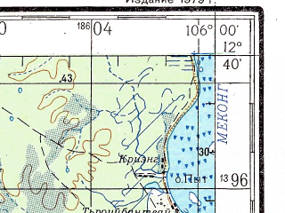 Reduced fragment of topographic map ru--gs--200k--d48-34--N012-40_E105-00--N012-00_E106-00; towns and cities Phumi Bos Khnor, Phumi Chambak, Phumi Kreul