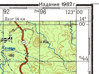 Reduced fragment of topographic map ru--gs--200k--d51-21--N014-00_E122-00--N013-20_E123-00; towns and cities Binobon, Bonliw, Catabanga