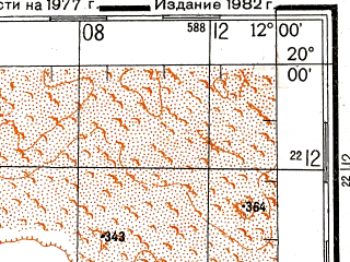 Reduced fragment of topographic map ru--gs--200k--e28-06--N020-00_W013-00--N019-20_W012-00; towns and cities Faraoun