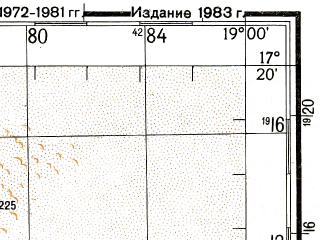 Reduced fragment of topographic map ru--gs--200k--e34-25--N017-20_E018-00--N016-40_E019-00