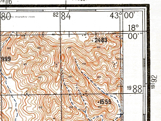 Reduced fragment of topographic map ru--gs--200k--e38-19--N018-00_E042-00--N017-20_E043-00
