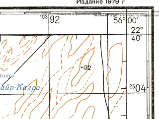Reduced fragment of topographic map ru--gs--200k--f40-14--N022-40_E055-00--N022-00_E056-00