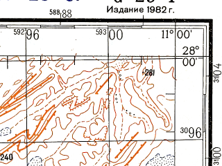 Reduced fragment of topographic map ru--gs--200k--g29-01--N028-00_W012-00--N027-20_W011-00