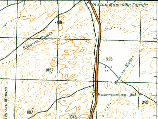 Reduced fragment of topographic map ru--gs--200k--h36-24--N030-00_E035-00--N029-20_E036-00; towns and cities El Quweira, En Naab