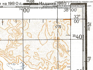 Reduced fragment of topographic map ru--gs--200k--h37-02--N032-00_E037-00--N031-20_E038-00; towns and cities Al Hadithah