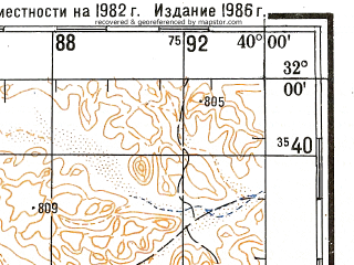 Reduced fragment of topographic map ru--gs--200k--h37-04--N032-00_E039-00--N031-20_E040-00