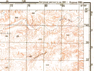 Reduced fragment of topographic map ru--gs--200k--h37-05--N032-00_E040-00--N031-20_E041-00