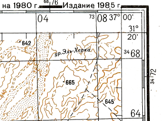 Reduced fragment of topographic map ru--gs--200k--h37-07--N031-20_E036-00--N030-40_E037-00