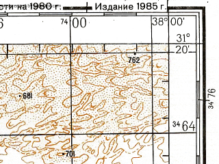 Reduced fragment of topographic map ru--gs--200k--h37-08--N031-20_E037-00--N030-40_E038-00