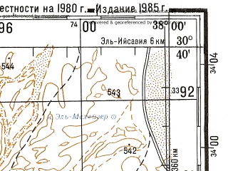 Reduced fragment of topographic map ru--gs--200k--h37-14--N030-40_E037-00--N030-00_E038-00