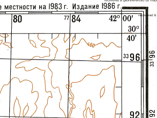 Reduced fragment of topographic map ru--gs--200k--h37-18--N030-40_E041-00--N030-00_E042-00