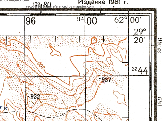 Reduced fragment of topographic map ru--gs--200k--h41-26--N029-20_E061-00--N028-40_E062-00; towns and cities Anjareh, Juzzak