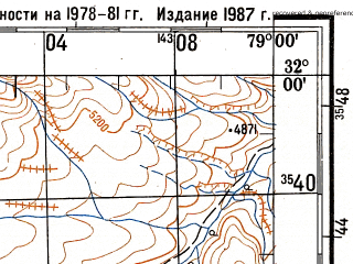 Reduced fragment of topographic map ru--gs--200k--h44-01--N032-00_E078-00--N031-20_E079-00; towns and cities Burati Thatang, Chitkal, Khab