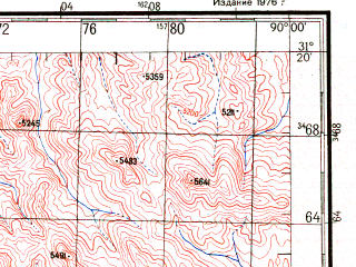 Reduced fragment of topographic map ru--gs--200k--h45-12--N031-20_E089-00--N030-40_E090-00 in area of Gomang Co; towns and cities Kang-chang, Lang-ma